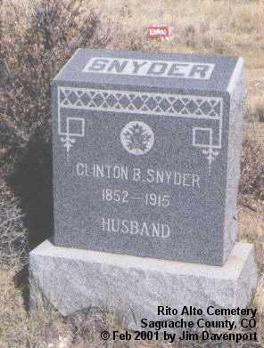 SNYDER, CLINTON B. - Saguache County, Colorado | CLINTON B. SNYDER - Colorado Gravestone Photos