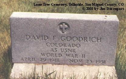 GOODRICH, DAVID F. - San Miguel County, Colorado | DAVID F. GOODRICH - Colorado Gravestone Photos