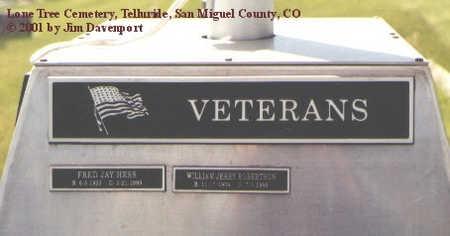 HESS, FRED JAY - San Miguel County, Colorado | FRED JAY HESS - Colorado Gravestone Photos