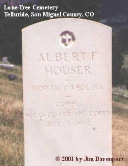 HOUSER, ALBERT F. - San Miguel County, Colorado | ALBERT F. HOUSER - Colorado Gravestone Photos