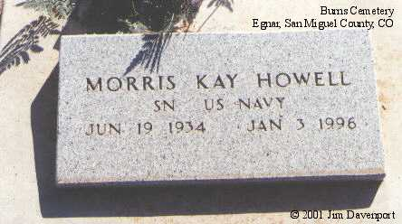 HOWELL, MORRIS KAY - San Miguel County, Colorado | MORRIS KAY HOWELL - Colorado Gravestone Photos