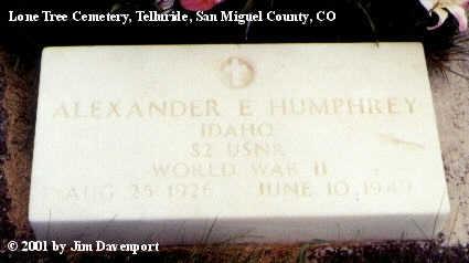 HUMPHREY, ALEXANDER E. - San Miguel County, Colorado | ALEXANDER E. HUMPHREY - Colorado Gravestone Photos