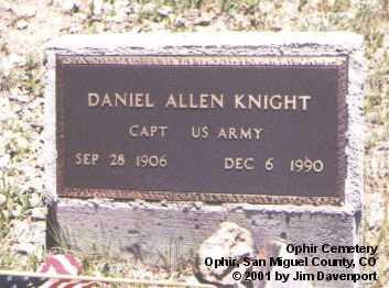 KNIGHT, DANIEL ALLEN - San Miguel County, Colorado | DANIEL ALLEN KNIGHT - Colorado Gravestone Photos