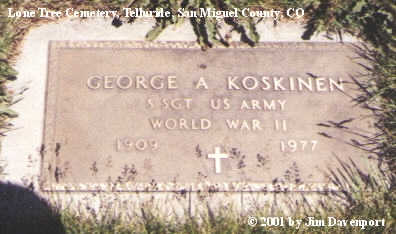 KOSKINEN, GEORGE A. - San Miguel County, Colorado   GEORGE A. KOSKINEN - Colorado Gravestone Photos