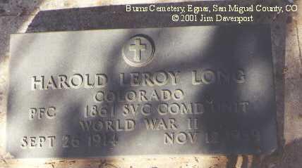 LONG, HAROLD LEROY - San Miguel County, Colorado   HAROLD LEROY LONG - Colorado Gravestone Photos