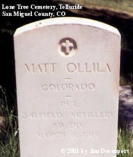 OLLILA, MATT - San Miguel County, Colorado   MATT OLLILA - Colorado Gravestone Photos