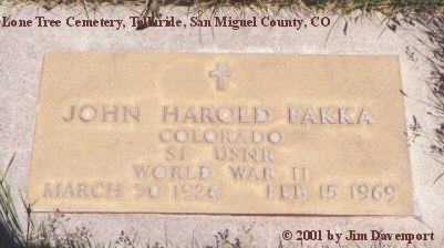 PAKKA, JOHN HAROLD - San Miguel County, Colorado | JOHN HAROLD PAKKA - Colorado Gravestone Photos