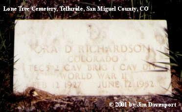 RICHARDSON, ORA D. - San Miguel County, Colorado   ORA D. RICHARDSON - Colorado Gravestone Photos
