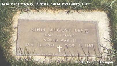 SAND, JOHN AUGUST - San Miguel County, Colorado   JOHN AUGUST SAND - Colorado Gravestone Photos
