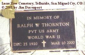THORNTON, RALPH W. - San Miguel County, Colorado   RALPH W. THORNTON - Colorado Gravestone Photos