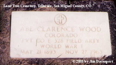 WOOD, ABE CLARENCE - San Miguel County, Colorado | ABE CLARENCE WOOD - Colorado Gravestone Photos