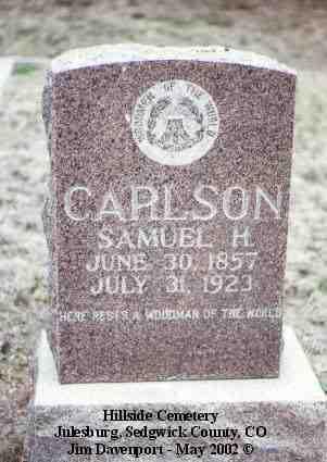 CARLSON, SAMUEL H. - Sedgwick County, Colorado | SAMUEL H. CARLSON - Colorado Gravestone Photos