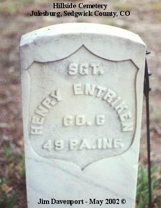 ENTRIKEN, HENRY - Sedgwick County, Colorado | HENRY ENTRIKEN - Colorado Gravestone Photos