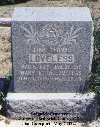 LOVELESS, JOHN THOMAS - Sedgwick County, Colorado   JOHN THOMAS LOVELESS - Colorado Gravestone Photos