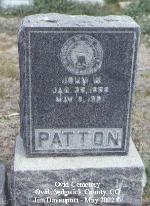PATTON, JOHN W. - Sedgwick County, Colorado | JOHN W. PATTON - Colorado Gravestone Photos
