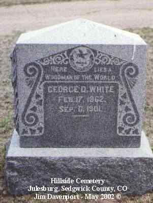 WHITE, GEORGE D. - Sedgwick County, Colorado | GEORGE D. WHITE - Colorado Gravestone Photos