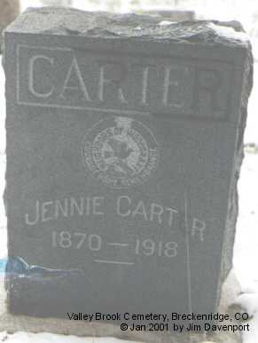 CARTER, JENNIE - Summit County, Colorado   JENNIE CARTER - Colorado Gravestone Photos