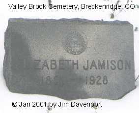JAMISON, ELIZABETH - Summit County, Colorado   ELIZABETH JAMISON - Colorado Gravestone Photos