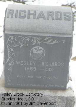 RICHARDS, WESLEY J. - Summit County, Colorado | WESLEY J. RICHARDS - Colorado Gravestone Photos