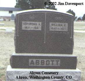 ABBOTT, SOPHRONA A. - Washington County, Colorado | SOPHRONA A. ABBOTT - Colorado Gravestone Photos