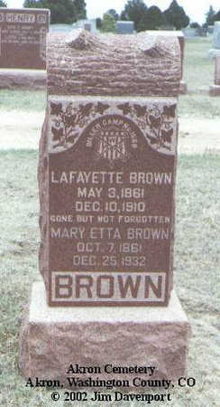 BROWN, MARY ETTA - Washington County, Colorado | MARY ETTA BROWN - Colorado Gravestone Photos