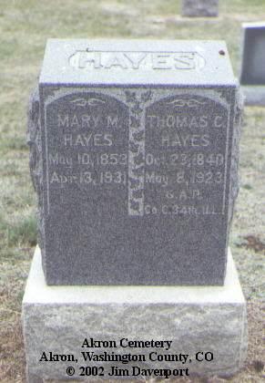 HAYES, THOMAS C. - Washington County, Colorado | THOMAS C. HAYES - Colorado Gravestone Photos