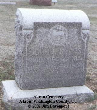 MYERS, JOHN F. - Washington County, Colorado | JOHN F. MYERS - Colorado Gravestone Photos