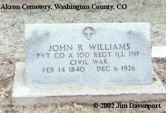 WILLIAMS, JOHN R. - Washington County, Colorado   JOHN R. WILLIAMS - Colorado Gravestone Photos