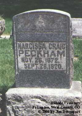 CRAIG PECKHAM, NARCISSA - Weld County, Colorado | NARCISSA CRAIG PECKHAM - Colorado Gravestone Photos