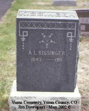 KISSINGER, A. L. - Yuma County, Colorado | A. L. KISSINGER - Colorado Gravestone Photos