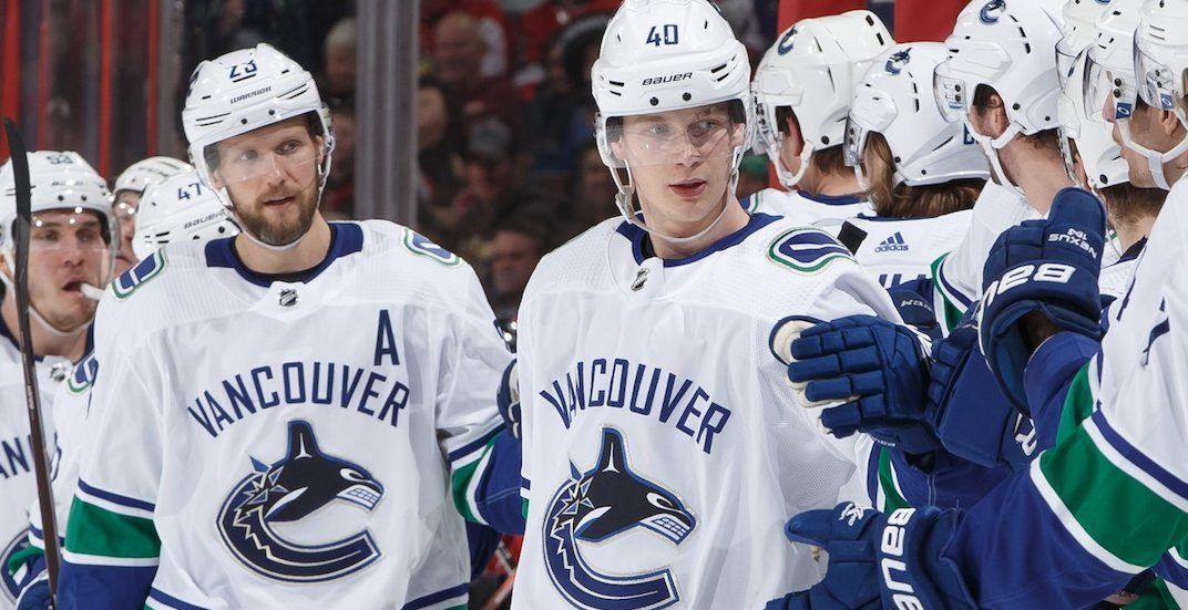 Canucks' Elias Pettersson leaves game with leg injury