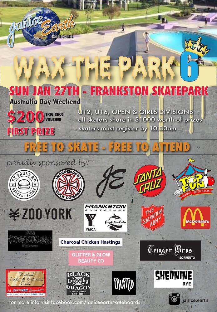 Wax the park frankston this Sunday