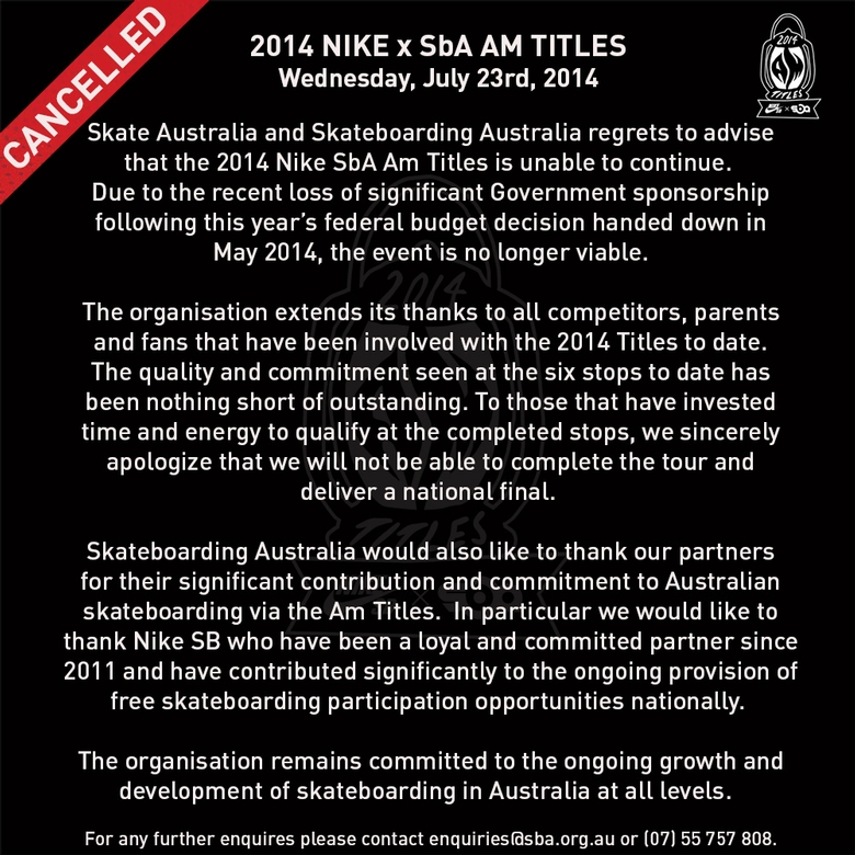 SBA AM Series Cancelled