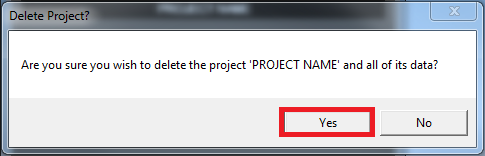 how to delete a project from open project