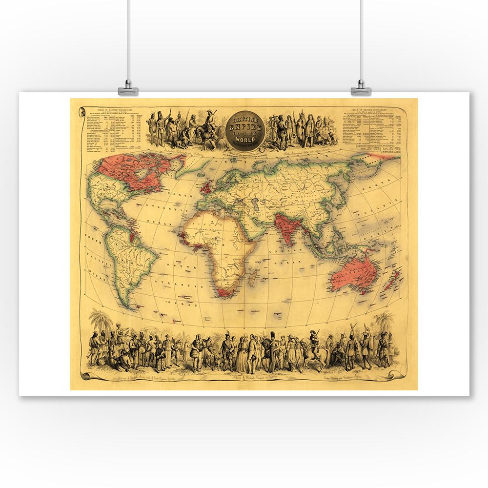 World Map of British Empire (1850) - Panoramic Map (9x12 Art Print ...