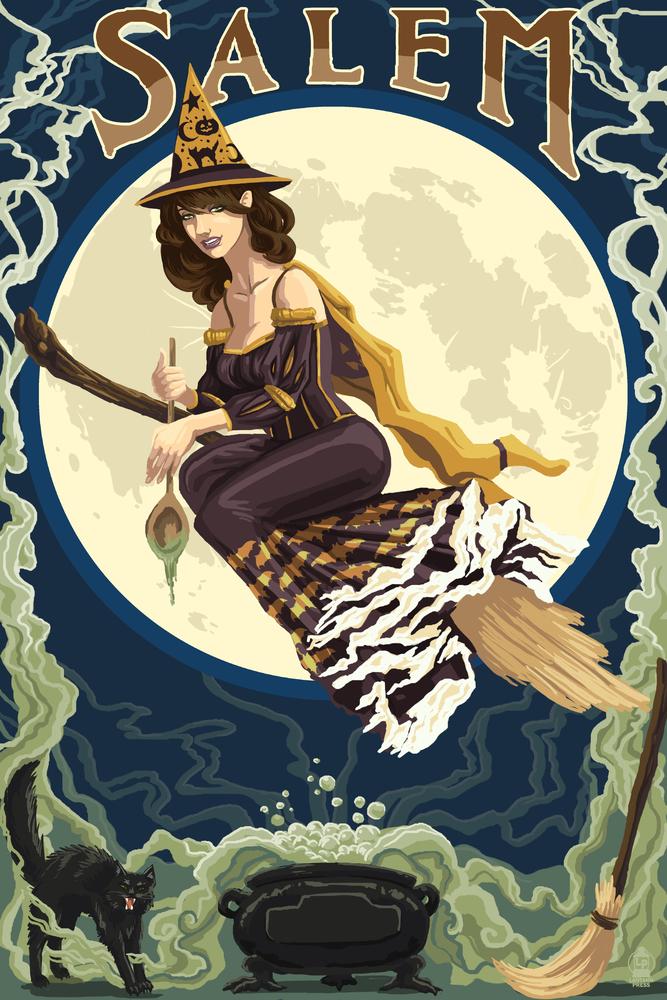 Salem Massachusetts Witch Scene Art Print 4 Sizes