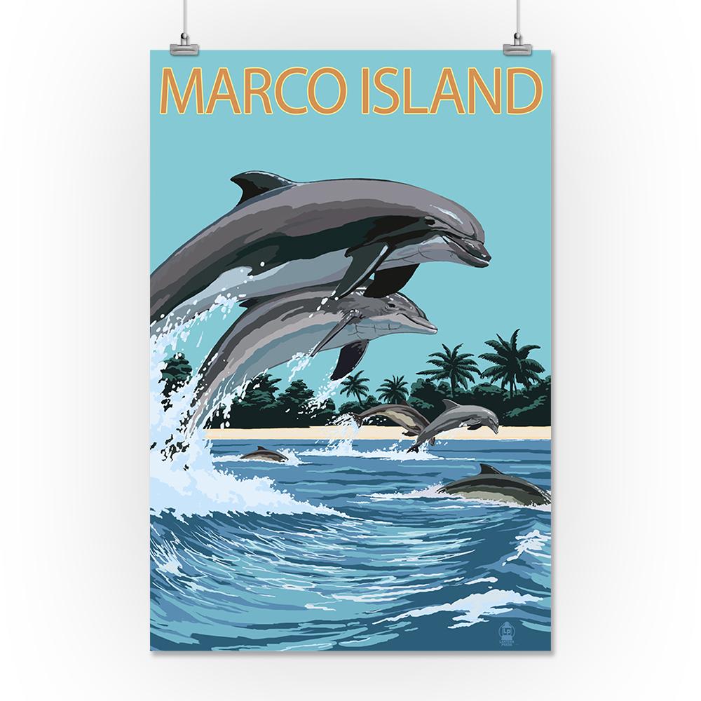 Marco ISLAND, FL-Delfines Saltando-Lp obras de arte impresión de ...