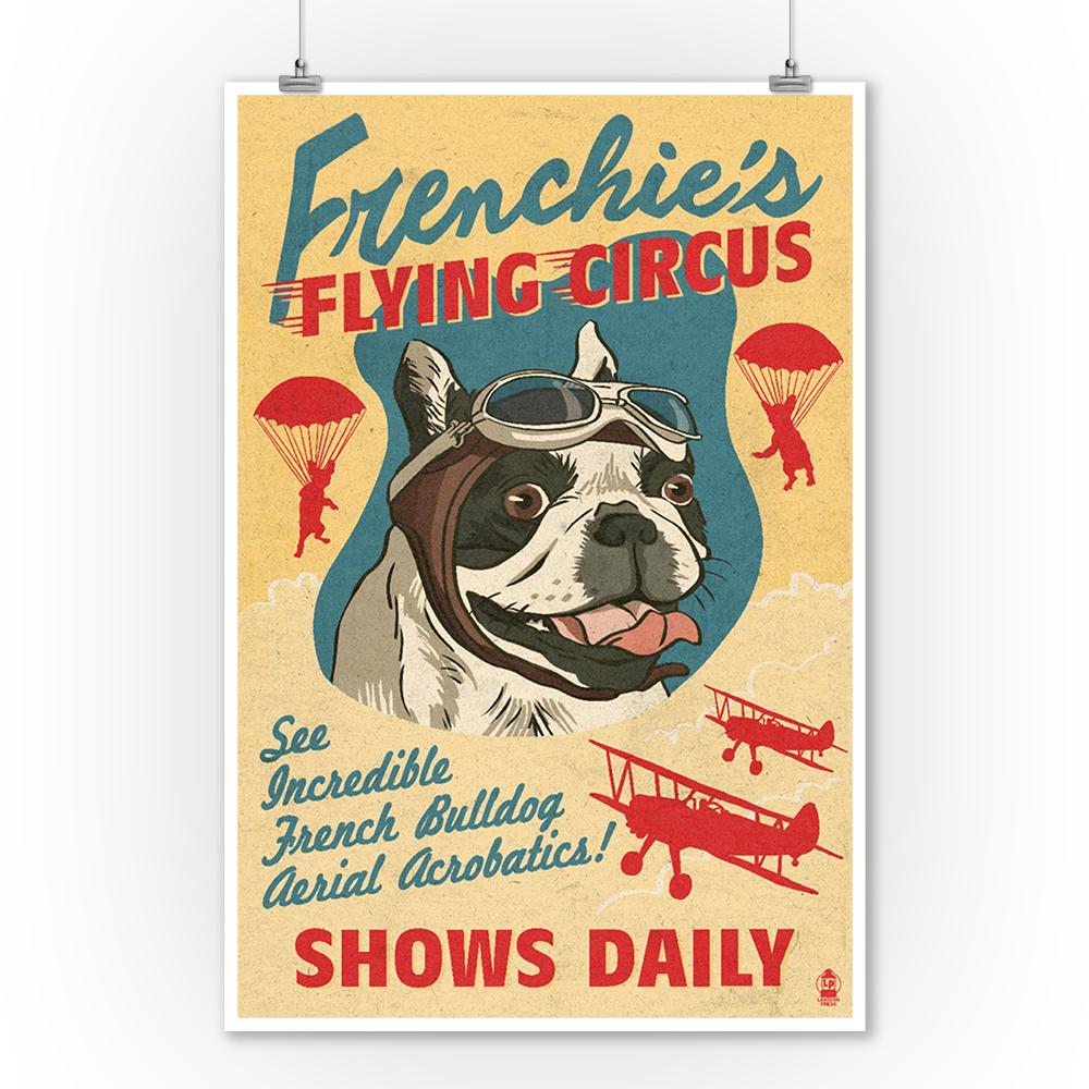 French Bulldog Retro Flying Circus Ad - LP Artwork (9x12 Art Print ...