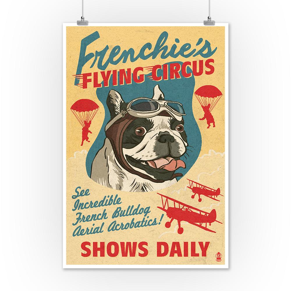 French Bulldog Retro Flying Circus Ad - LP Artwork (12x18 Art Print ...