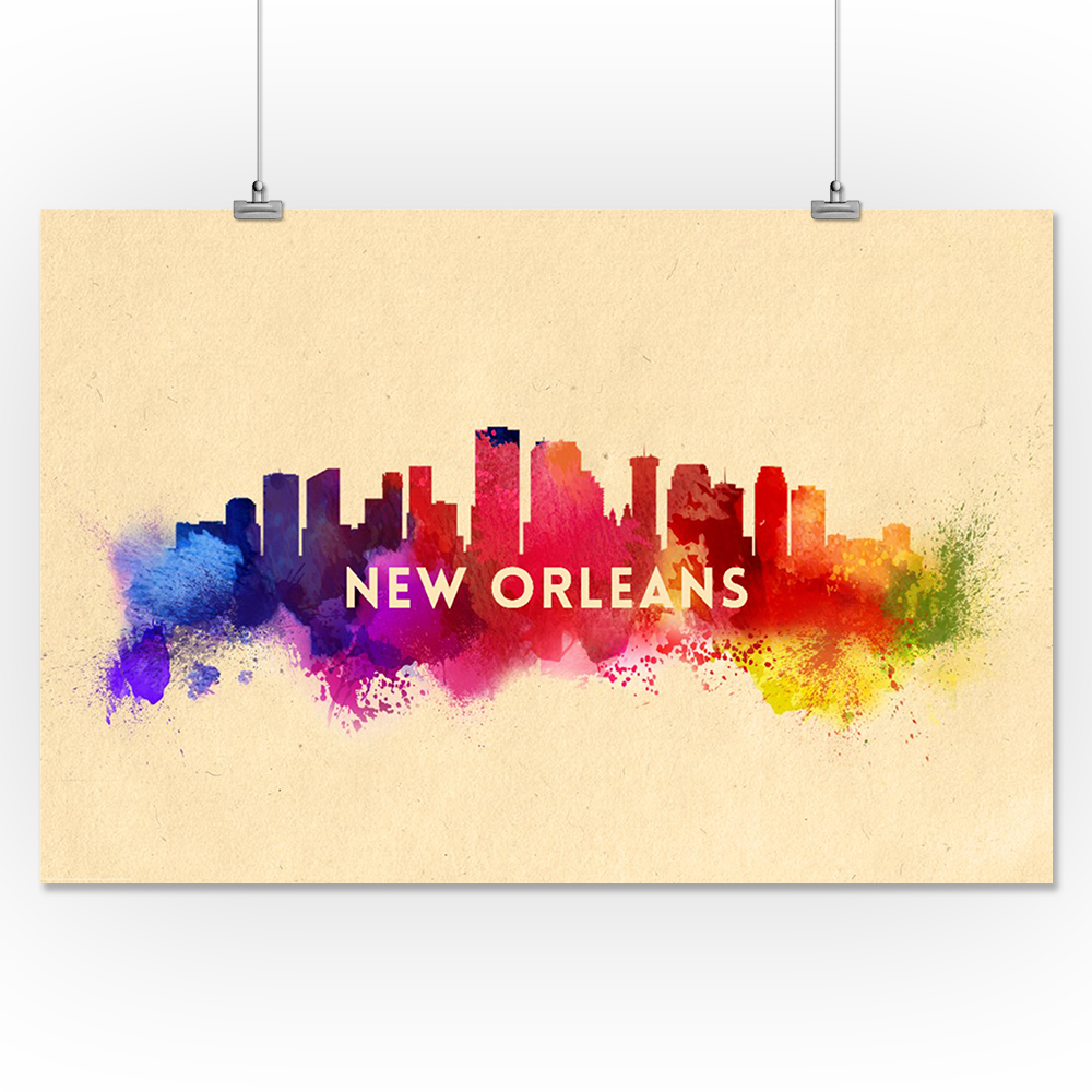 New Orleans, LA - Skyline Abstract - LP Artwork (16x24 Giclee Print ...