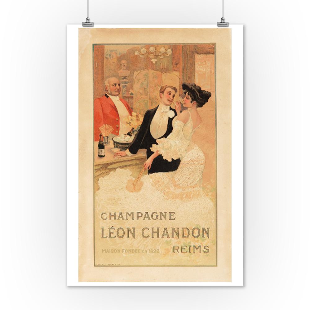 Champagne Leon Chandon Francia C. 1900-Vintage Art Print Ad (12x18 ...