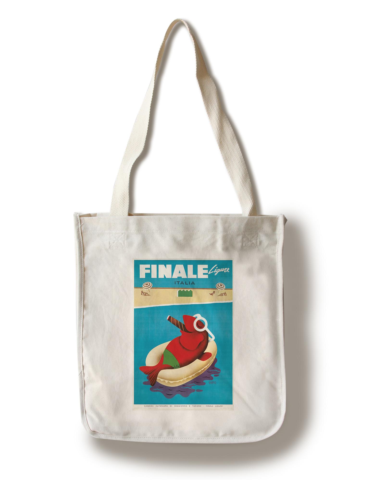 Finale Ligure (Puppo) C. 1950-Poster Vintage (100% Algodón Tote Bag ...