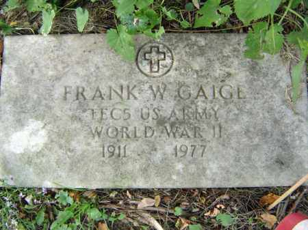 GAIGE, FRANK W - Albany County, New York | FRANK W GAIGE - New York Gravestone Photos