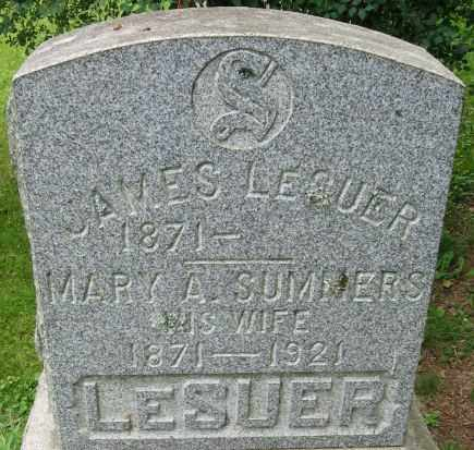 SUMMERS LESUER, MARY A. - Chenango County, New York | MARY A. SUMMERS LESUER - New York Gravestone Photos