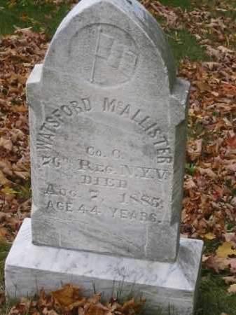 MCALLISTER (CW), WATSFORD - Cortland County, New York | WATSFORD MCALLISTER (CW) - New York Gravestone Photos