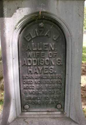 ALLEN HAYES, ELIZA J - Greene County, New York | ELIZA J ALLEN HAYES - New York Gravestone Photos