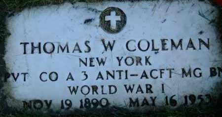 COLEMAN (WWI), THOMAS W. - Otsego County, New York | THOMAS W. COLEMAN (WWI) - New York Gravestone Photos