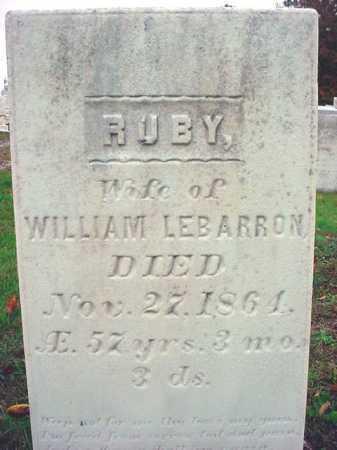 LE BARRON, RUBY - Rensselaer County, New York | RUBY LE BARRON - New York Gravestone Photos