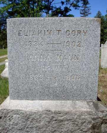 CORY, ELIAKIM T - Saratoga County, New York | ELIAKIM T CORY - New York Gravestone Photos