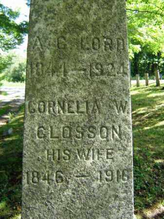 LORD, A G - Saratoga County, New York   A G LORD - New York Gravestone Photos